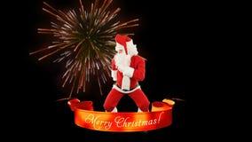 Santa Claus Dance, Merry Christmas ribbon, fireworks stock illustration