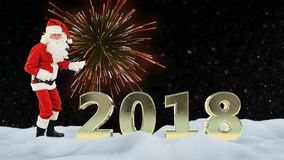 Santa Claus dance and 2018 sign against fireworks and snow stock video