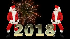 Santa Claus Dance and 2018 sign with fireworks vector illustration