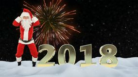 Santa Claus dance and 2018 sign, fireworks and snow stock illustration