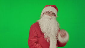 Santa Claus dancing in costume on a Green Screen stock video footage