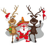 Santa Claus dancing with deers. cartoon style Stock Image