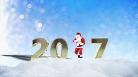 Santa Claus Dancing en la nieve, formando 2017, tarjeta de felicitación del día de fiesta metrajes