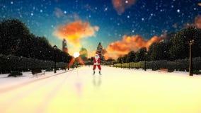 Santa Claus Dancing en un callejón del parque, nevando, día de fiesta BG almacen de metraje de vídeo