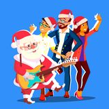 Santa Claus Dancing With Group Of folk och gitarr i händer Illustration för vektor för baner för kontorsjulparti royaltyfri illustrationer