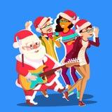 Santa Claus Dancing With Group Of-Leute und -gitarre in den Händen Glückliche Menschen, die Spaß-Tanzen haben Weihnachtsfest-Vekt stock abbildung