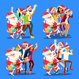 Santa Claus Dancing With Group Of People And Guitar In Hands. Positive Men And Women. Having Fun Dancing. Christmas stock illustration