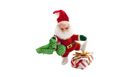 Santa Claus Dancing Over Wrapped Christmas-Gift Royalty-vrije Stock Foto's
