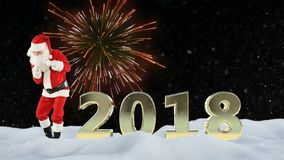 Santa Claus dancing and 2018 sign against beautiful fireworks and snow vector illustration