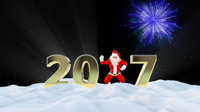Santa Claus Dancing 2017 text, Dance 5, winter landscape and fireworks