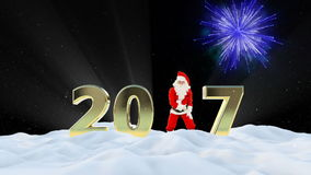 Santa Claus Dancing 2017 text, Dance 8, winter landscape and fireworks stock footage