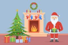 Santa Claus dans l'intérieur de chambre de Noël avec la cheminée et l'arbre illustration stock