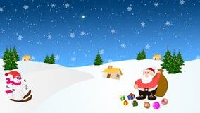 Santa Claus dans la neige avec beaucoup de présents illustration libre de droits