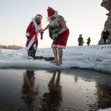 Santa Claus dans le trou Image stock