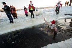 Santa Claus dans le trou Images libres de droits