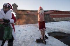 Santa Claus dans le trou Image libre de droits