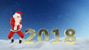 Santa Claus dans och text 2018 mot snö stock illustrationer