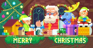 Santa Claus dans un atelier illustration de vecteur