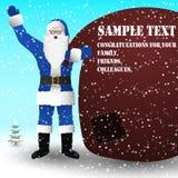 Santa Claus dans un costume bleu avec un sac énorme des cadeaux, sur le sac un endroit pour votre texte illustration de vecteur