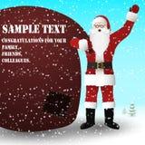 Santa Claus dans un costume rouge avec un sac énorme des cadeaux, sur le sac un endroit pour votre texte illustration stock