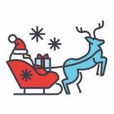 Santa Claus dans un traîneau avec un concept de cerfs communs Photos stock