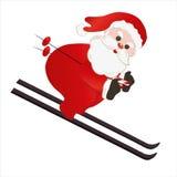 Santa Claus, das Ski fahren Stockfotos