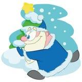 Santa Claus de corrida, desenhos animados ilustração royalty free