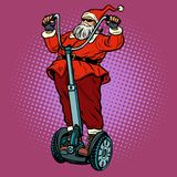 Santa Claus-de fietser met Kerstmisgiften berijdt een elektrische autoped vector illustratie
