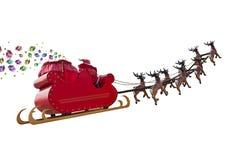 Santa Claus-de giften komen aan stock afbeeldingen