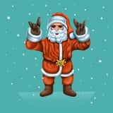 Santa Claus is de koelste man op de Arctica Op een roze achtergrond met palmbladen royalty-vrije illustratie