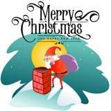 Santa Claus-de mens in rood kostuum en de baard met zak van giften achter hem klimmen in schoorsteen, huwen van Kerstmis en geluk Stock Foto's