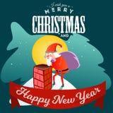 Santa Claus-de mens in rood kostuum en de baard met zak van giften achter hem klimmen in schoorsteen, huwen van Kerstmis en geluk Stock Foto