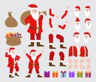 Santa Claus-de reeks van de karakterverwezenlijking Volledige lengte, verschillende die meningen, emoties, gebaren, tegen witte a vector illustratie