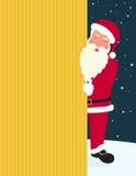Santa Claus de sorriso que veste o chapéu e vidros vermelhos guarda uma bandeira com Feliz Natal ilustração royalty free