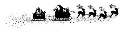 Santa Claus de voo abstrata com forma do preto da ilustração do vetor do trenó da rena - silhueta ilustração royalty free