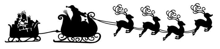Santa Claus de voo abstrata com forma do preto da ilustração do vetor do trenó da rena - silhueta ilustração stock