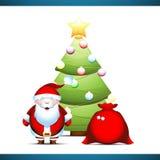 Santa Claus debajo del árbol de navidad Fotos de archivo libres de regalías