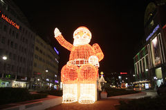 Santa Claus. DECEMBER 2013 - BERLIN: christmas time in Berlin: an illuminated Santa Claus at the Kudamm in the Charlottenburg district of Berlin Stock Image