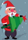 Santa Claus Decor Tree_eps. Illustration of Santa Claus holding Christmas tree Stock Image