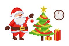 Santa Claus Decorate New Year Tree by Hanging Ball. Santa Claus decorates New Year tree by hanging color ball. Christmas Father and winter holiday symbol, clock Stock Photo