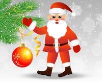 Santa claus decorates a christmas tree balls. Vector illustration Stock Image