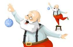 Santa Claus decorates a Christmas tree toy Royalty Free Stock Photos