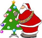 Santa Claus decorating a Christmas Tree vector illustration