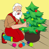 Santa Claus decorating a Christmas tree in his house. Simple cartoon style, vector illustration Stock Image