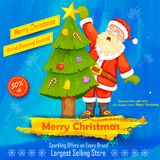 Santa Claus decorating Christmas tree Stock Images