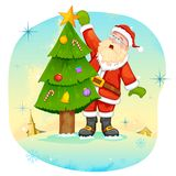 Santa Claus decorating Christmas tree Stock Photography