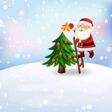 Santa Claus decorating a Christmas tree. Stock Photo