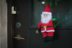 Santa claus decoration on a door Royalty Free Stock Images