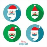 Santa claus decoration icon set. Royalty Free Stock Images