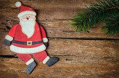 Santa claus decoration on wood Stock Images